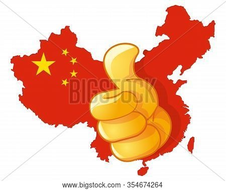 Thumb Up On The Background Of The Map Of China. Love China. Gesture In Support Or Approval Of China.