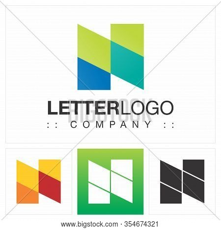Letter N (typography) Vector Symbol Company Logo (logotype). Geometric Paper Fold Multi-colored Styl
