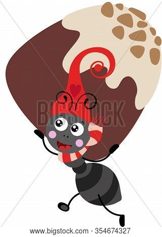 Scalable Vectorial Representing A Cute Ant With Red Hat Carrying A Chocolate Bonbon, Element For Des