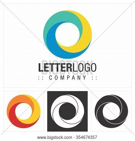 Letter O (spiral, Circle) Vector Symbol Company Logo (logotype). Concentric Color Gradient Three Ele