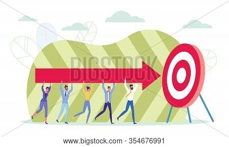 Target Marketing Flat Cartoon Vector Illustration. Goal Achievement In Company, Objective Accomplish