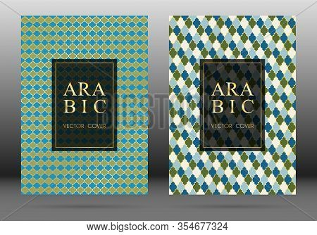 Ottoman Pattern Vector Cover Page Layout Design Collection In Arabic Style Mosaic In Gold Grid. Isla