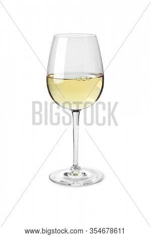 Single glass of white wine isolated on white background