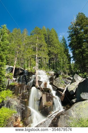 Crane Creek In Yosemite National Park, California, Usa - Cascade Downstream, Small Waterfall.