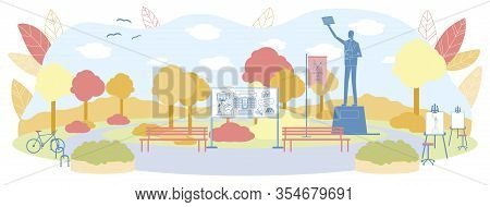 Empty Yard And Park Area Of University Vector Illustration. Monument Of Person With Raised Hand On P