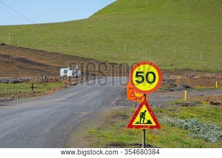 Warning About Roadwork And Changed Speed Limit On The Icelandic Countryside
