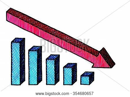 Freehand Isometric Pen Drawing Of Red Arrow Showing The Declining Trend Of A Blue Bar Chart. Busines