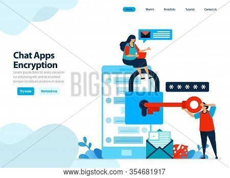 Website Design Of Chat Apps Encryption And Mobile Security. Secure Personal Data By Protecting Smart