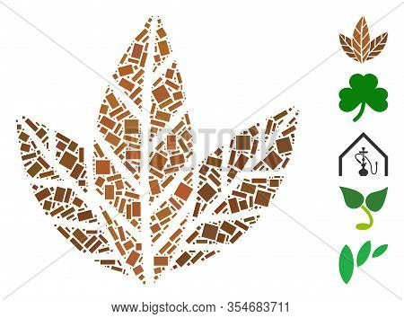 Dotted Mosaic Based On Tobacco Leaves. Mosaic Vector Tobacco Leaves Is Designed With Randomized Rect