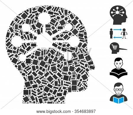 Dotted Mosaic Based On Human Intellect. Mosaic Vector Human Intellect Is Designed With Scattered Rec
