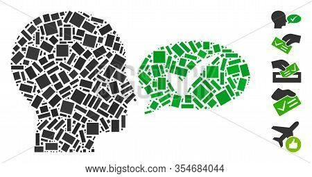 Dotted Mosaic Based On Say Yes. Mosaic Vector Say Yes Is Designed With Randomized Rectangular Spots.