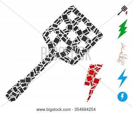 Dotted Mosaic Based On Electric Fly Killer. Mosaic Vector Electric Fly Killer Is Composed With Rando