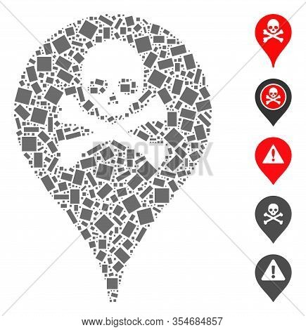 Dotted Mosaic Based On Danger Zone Map Marker. Mosaic Vector Danger Zone Map Marker Is Composed With