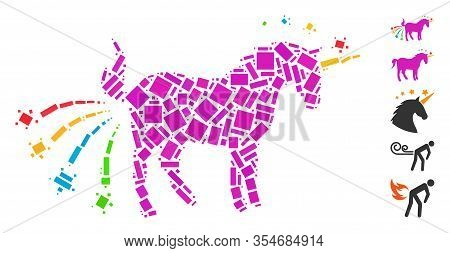 Dotted Mosaic Based On Farting Unicorn. Mosaic Vector Farting Unicorn Is Composed With Randomized Re