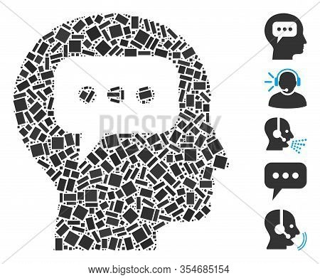Dot Mosaic Based On Head Opinion. Mosaic Vector Head Opinion Is Composed With Random Rectangle Spots