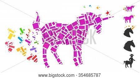 Dot Mosaic Based On Unicorn Farting Butterflies. Mosaic Vector Unicorn Farting Butterflies Is Compos