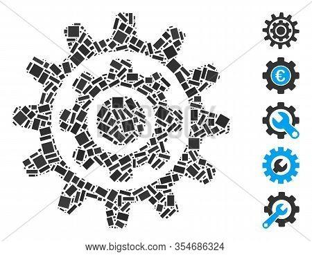 Dot Mosaic Based On Inner Gear. Mosaic Vector Inner Gear Is Created With Random Rectangle Items. Bon