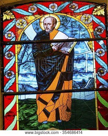 Puebla, Mexico - January 5, 2019 Ignatius Loyola Founder Jesiuit Society Stained Glass Basilica La C