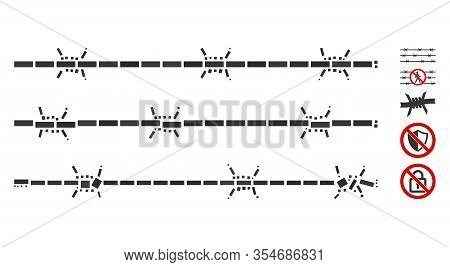Dotted Mosaic Based On Barbwire Fence. Mosaic Vector Barbwire Fence Is Composed With Random Rectangu