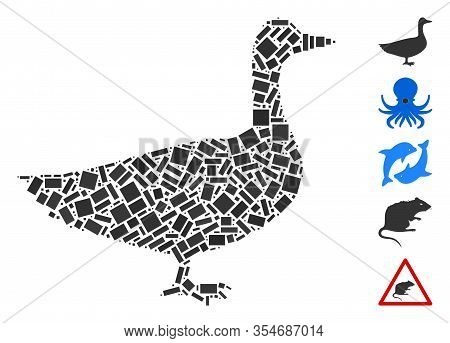 Dotted Mosaic Based On Goose. Mosaic Vector Goose Is Designed With Random Rectangle Elements. Bonus