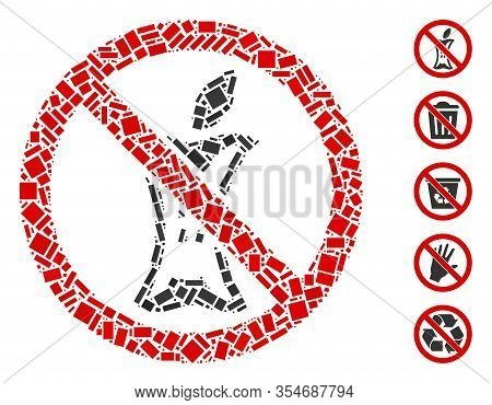 Dot Mosaic Based On Do Not Litter. Mosaic Vector Do Not Litter Is Designed With Randomized Rectangul
