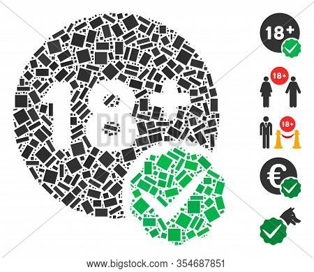 Dotted Mosaic Based On Adults Only. Mosaic Vector Adults Only Is Designed With Scattered Rectangle S