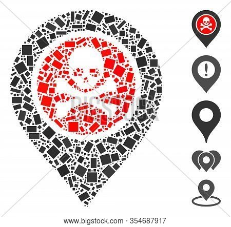 Dotted Mosaic Based On Dangerous Zone Pointer. Mosaic Vector Dangerous Zone Pointer Is Created With