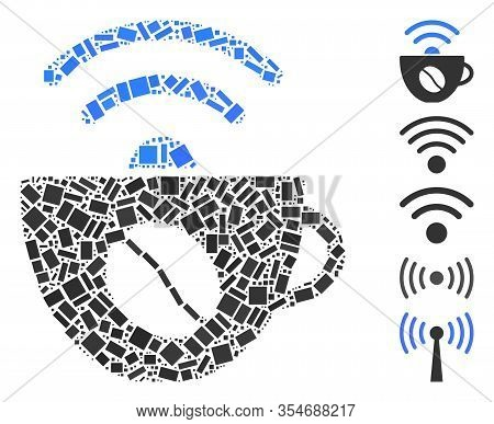 Dotted Mosaic Based On Coffee Wifi Source. Mosaic Vector Coffee Wifi Source Is Formed With Randomize