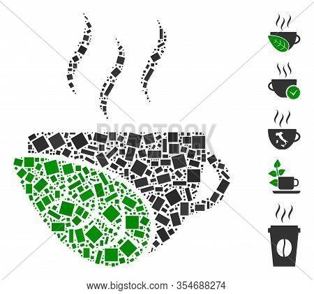 Dot Mosaic Based On Organic Coffee Cup. Mosaic Vector Organic Coffee Cup Is Created With Randomized