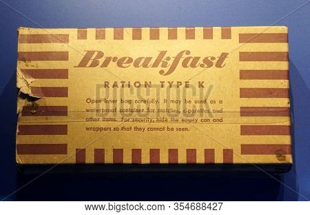 New Orleans, Louisiana, U.s.a - February 4, 2020 - The Box Of Breakfast Ration Type K, The Individua