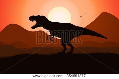 T-rex Tyrannosaurus Silhouette Dinosaur On The Background Of Jurassic Sunset. Vector Illustration Of