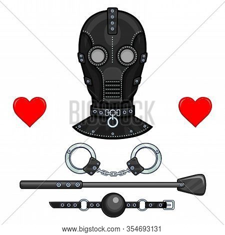 Animation Leather Mask For Adults. Set Of Erotic Toys: Handcuffs, Stack, Ball Gag. Template For Erot