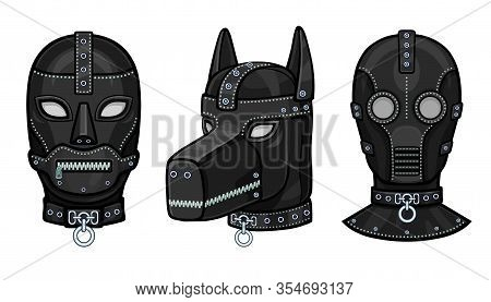 Set Of Animation Leather Masks For Adults. Template For Erotic Content. Vector Illustration Isolated