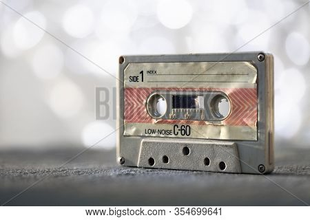 Audio cassette tape vintage analog recording medium from 1970's
