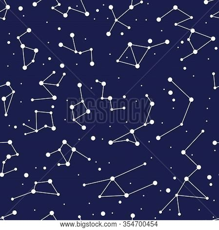 Vector Constellation Seamless Background Pattern. Zodiac Map With Stars In Blue Space. Astronomy Abs