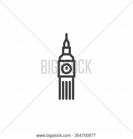 Big Ben Tower Line Icon. Linear Style Sign For Mobile Concept And Web Design. Big Ben Clock Outline