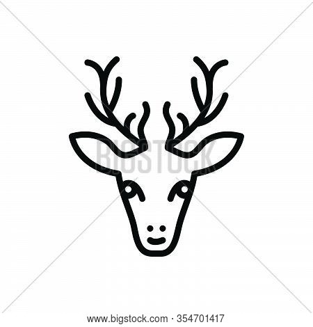Black Line Icon For Dear Rain Face Animal Antler Forest Cute Horn Hunting