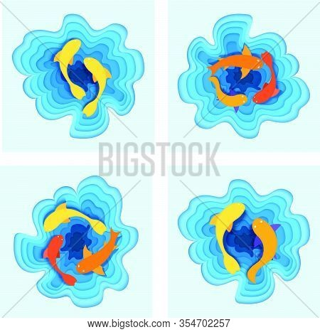 Set Of Tropical Fish Sea, Flat Ocean Minnow, Concept Cutting Paper Vector Illustration. Saltwater Fi