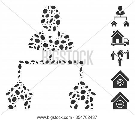 Dotted Mosaic Based On Realty Manager. Mosaic Vector Realty Manager Is Composed With Scattered Ellip