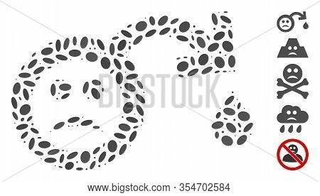 Dotted Mosaic Based On Sad Impotence. Mosaic Vector Sad Impotence Is Composed With Random Oval Eleme