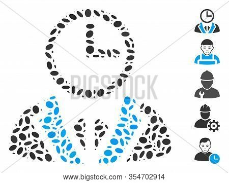 Dotted Mosaic Based On Duty Person. Mosaic Vector Duty Person Is Formed With Randomized Ellipse Spot