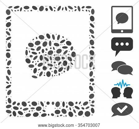 Dot Mosaic Based On Pad Chat Message. Mosaic Vector Pad Chat Message Is Designed With Scattered Elli