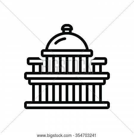Black Line Icon For Capital Metropolis Chief-town Megalopolis  Dominant Architecture Landmark States