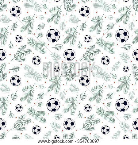 Christmas Seamless Background Made Of Soccer Balls, Spruce Twigs And Small Dots. Can Be Used For Car