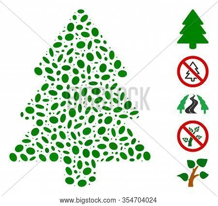 Dotted Mosaic Based On Fir-tree. Mosaic Vector Fir-tree Is Designed With Random Oval Dots. Bonus Ico