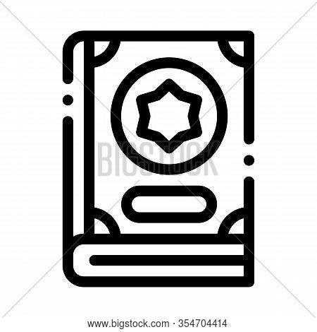 Wizard Book Icon Vector. Outline Wizard Book Sign. Isolated Contour Symbol Illustration