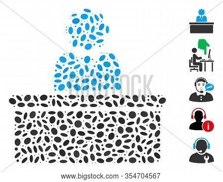 Dotted Mosaic Based On Bureaucrat. Mosaic Vector Bureaucrat Is Designed With Random Oval Elements. B