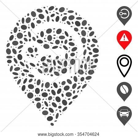 Dotted Mosaic Based On Key Login Marker. Mosaic Vector Key Login Marker Is Created With Random Oval