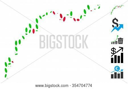 Dotted Mosaic Based On Candlestick Chart Growth Slowdown. Mosaic Vector Candlestick Chart Growth Slo