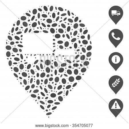 Dot Mosaic Based On Lorry Marker. Mosaic Vector Lorry Marker Is Designed With Random Elliptic Elemen